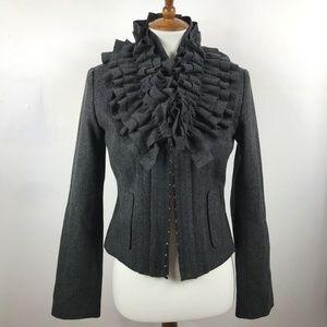 hinge Anthropologie Jacket Sz S Charcoal Ruffle